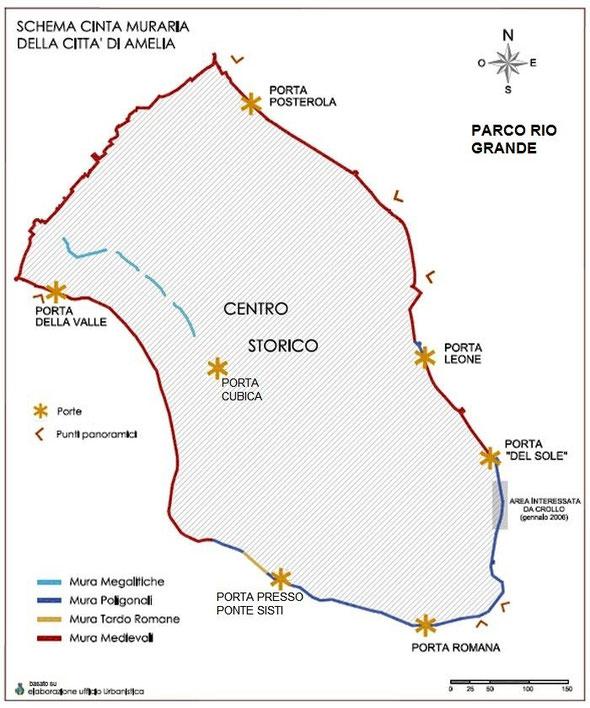 Mappa rielaborata in base a quella pubblicata sul sito del Comune di Amelia-clicca per ingrandire