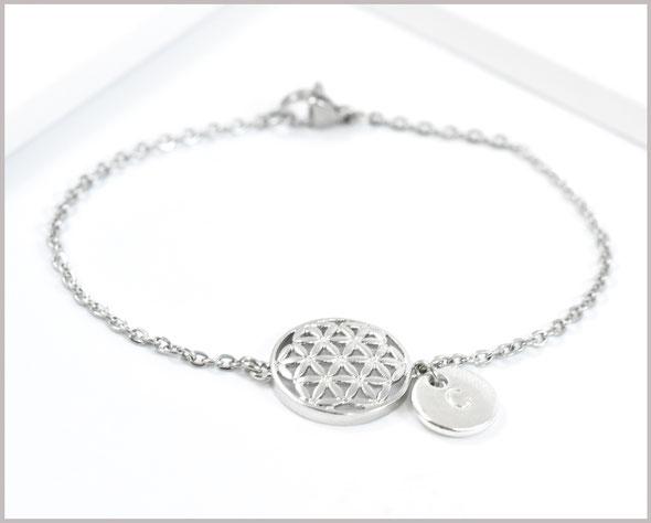 Armband Edelstahl mit Blume des Lebens und Wunschbuchstaben