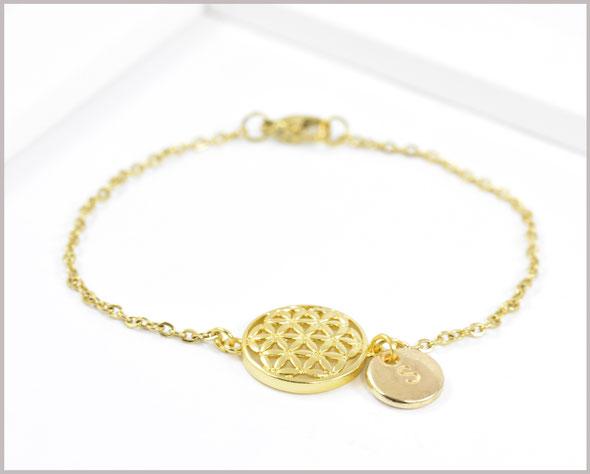Armband Edelstahl vergoldet mit Blume des Lebens und Wunschbuchstaben
