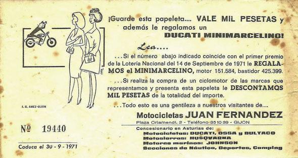 Papeleta original de sorteo de una Mini Marcelino en el año 1971, en Gijón