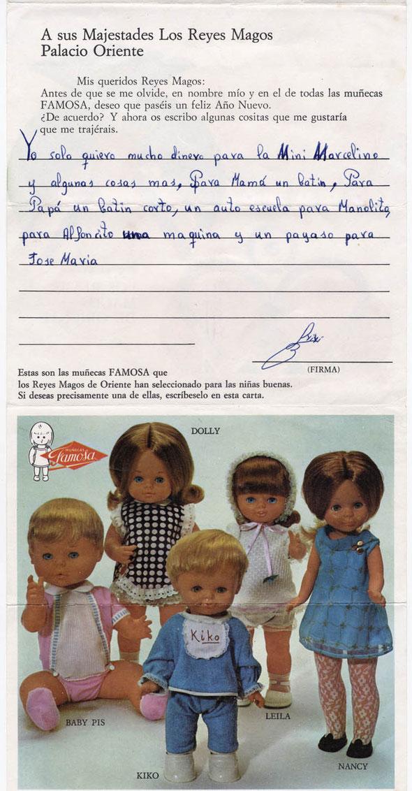 Carta a los Reyes Magos original de Isidro, escrita con 4 años, años 70 con propaganda de Famosa