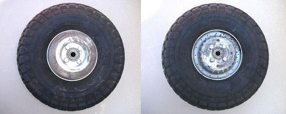 Detalle del lado izquierdo y derecho de la rueda trasera, con el disco de freno y corona de arrastre