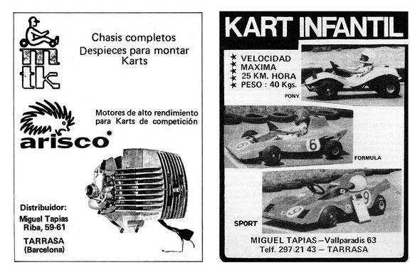 Anuncio de motores de competición y Karts Arisco