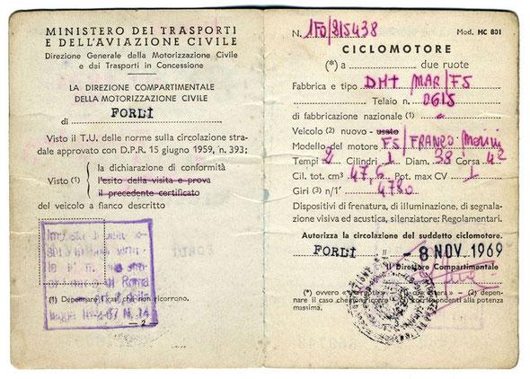 Libretto original del modelo Mini Marcellino italiano expedido el 8 de Noviembre de 1969 en Forli (Italia)