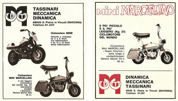 Publicidad del modelo Mini Marcellino Super América y Ciclomotor Bebé