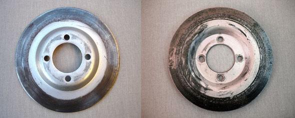 Disco de freno, lado interior y exterior, antes de su limpieza y restauración