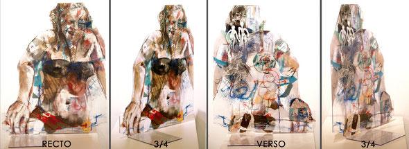 """""""Plage, moitié dans l'eau"""" ~70/50/0,5cm + pied languettes 50cm, 2014"""