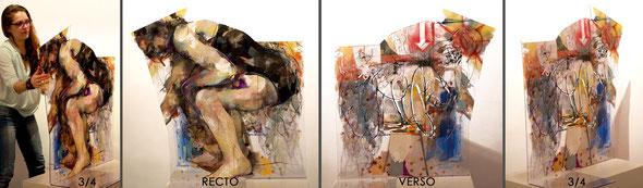 """""""Plage, position particulière"""" ~100/120/0,5cm + pied languettes 70cm, 2014"""