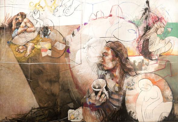 «Couple, canapé, elle pense » 200x300cm (3 panneaux de 200x100cm), 2014