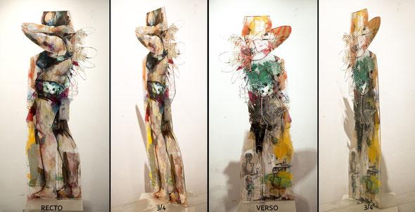 """""""Plage, debout, courbée"""" 170/55/1cm + pied languettes 100cm long totale au sol, 2014"""