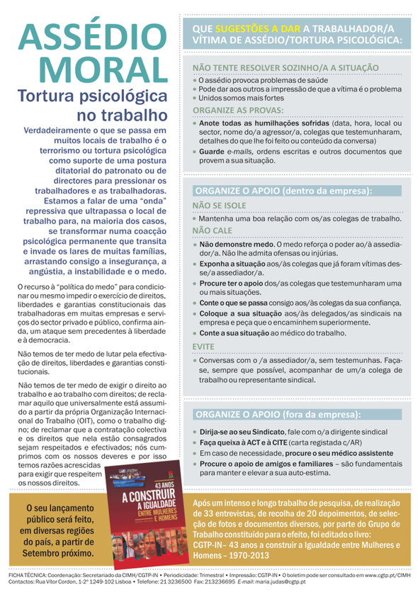 Assédio Moral - Boletim Igualdade (Julho 2014)