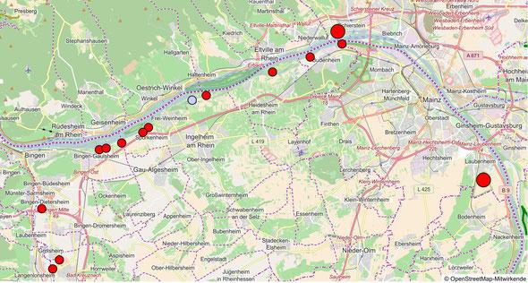 Horststandorte Raum Mainz-Bingen / Wiesbaden; Stand Sommer 2018
