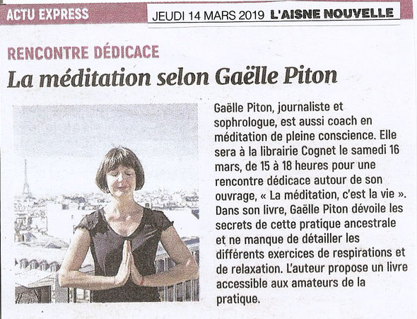 Gaëlle Piton sophrologue coach et instructrice en méditation de pleine conscience à Paris et Saint-Denis.