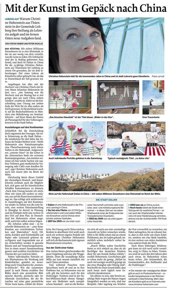 Mittelbayerische Zeitung, Bad Kötzting, 13.11.2012, Christine Hohenstein. Collage, Nostalgie, Malerei