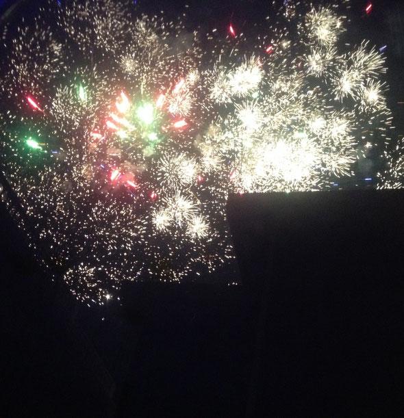Feuerwerk vom Sofa aus betrachtet