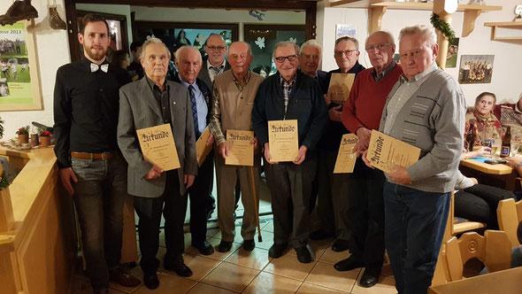 Die geehrten Mitglieder für 70 Jahre Mitgliedschaft beim ASV
