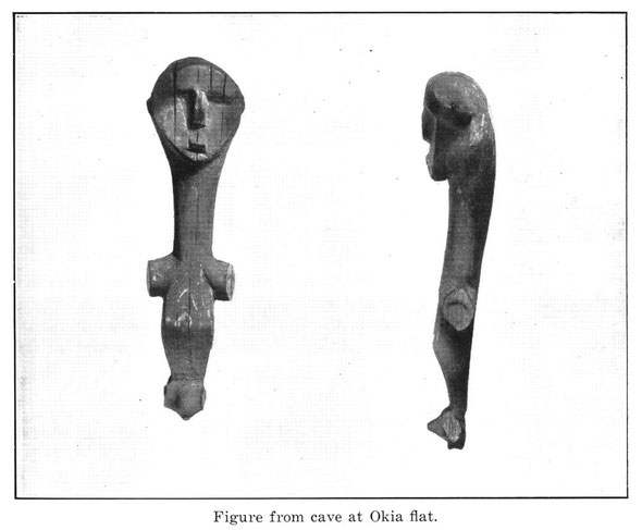 Wooden figure found during excavation of Te Matai o Okia cave (from Jounral of Polynesian Studies, Volume 49, 1940 - click photo for link)