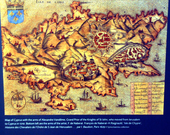 Map of Cyprus published in 1629 showing the Hospital of St John (reproduction in Ashmolean Museum, Oxford