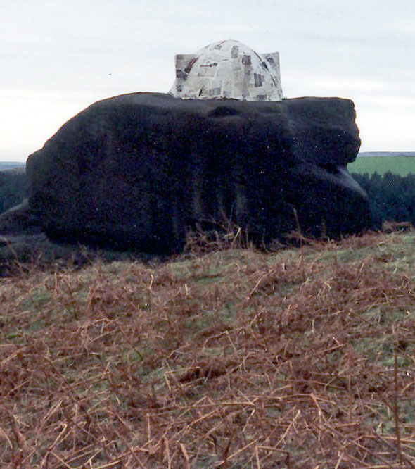 Hut on Boulder near Stanage Edge, Peak District National Park 1993  1.8m x 1.2m (paper mache)