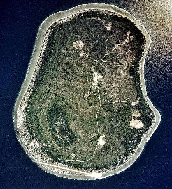 Aerial view of Nauru, source of much of New Zealand's early phosphate bonanza. Nauru has an area of 21 sq km most of which was taken up by phosphate mining on 'Topside' while the population of less than 10,000 li