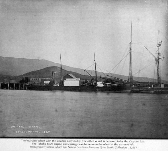 Waitapu Wharf and Lady Barkly in the 1880s (Waitapu Wharf Signage).