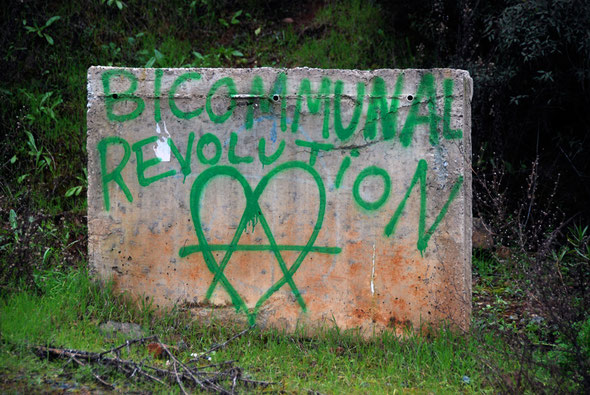 Graffiti calls for a 'bicommunal revolution' in the Xeros valley