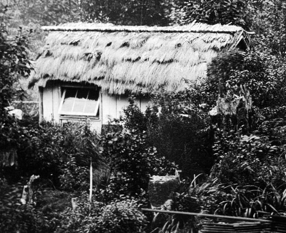 Part of an 1887 photograph by the Burton Brothers showing 'The City' at Milford Sound in the 1880s.