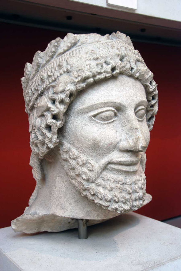 Limestone head from the statue of a bearded worshipper, 475-450BC from the sanctuary of Apollo at Idalion: British Museum