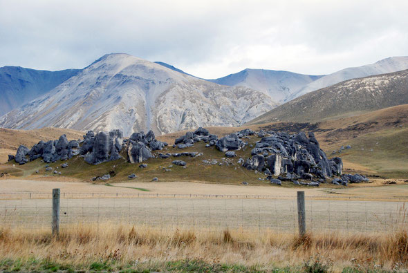 The Castle Hill formation and Dead Man Spur and Mt Enys behind