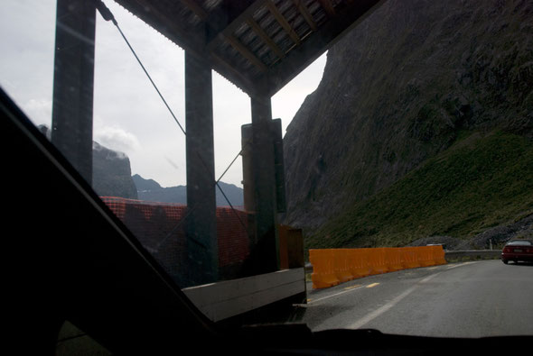 The western portal of the Homer Tunnel into the Cleddau valley with the temporary rockfall shelter visible.