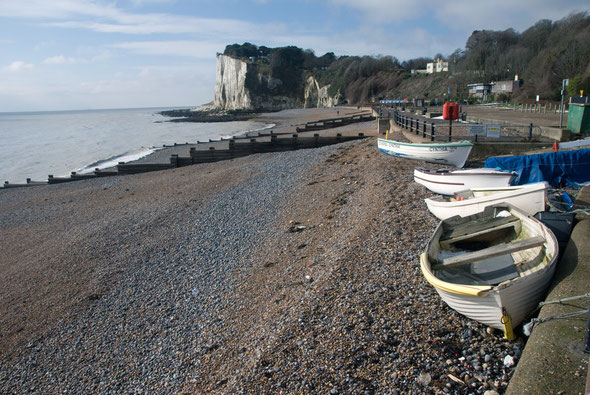 Cove boats in St Margarets Bay pushed back by the north easterly gale on a spring tide (March 2013)