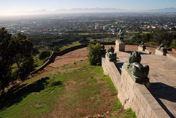 View east from the Rhodes Memorial over rich white suburbs, the townships of the Cape Flats to the Hottentot-Holland mountains