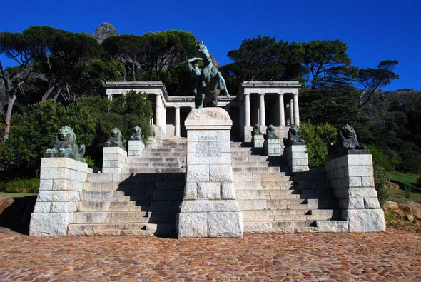 The Rhodes Memorial, Cape Town dedicated to the 'genius' of Cecil Rhodes, Prime Minister of the Cape Colony, diamond mine magnate and imperial expansionist