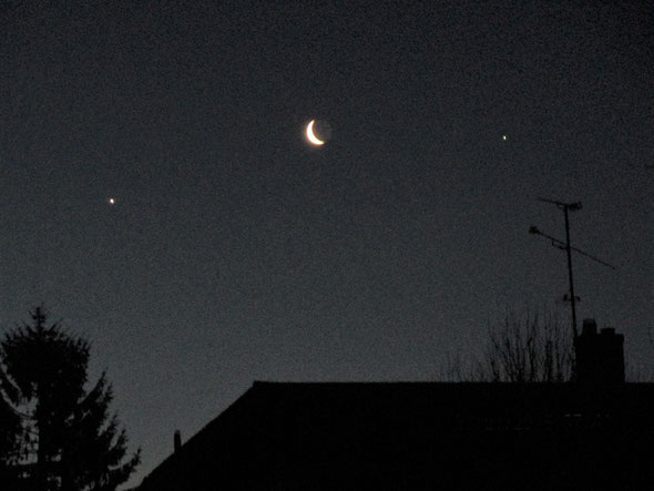 Venus, the moon and Jupiter