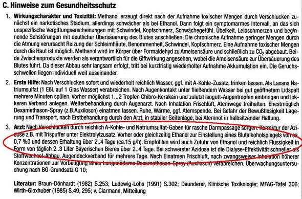 Bayerisches Bier als Gegenmittel für Methylalkohol
