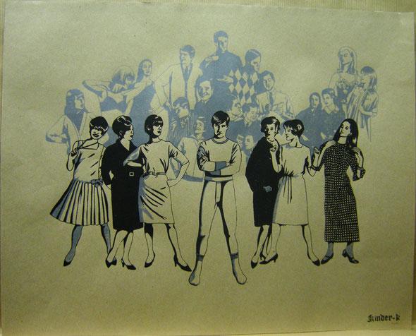 """""""Retrocolor"""" / Sérigraphies 2 couleurs sur papier recyclé / tailles variables ± 30x50 cm / Atelier Encéphalographe / Kinder-k 2011"""