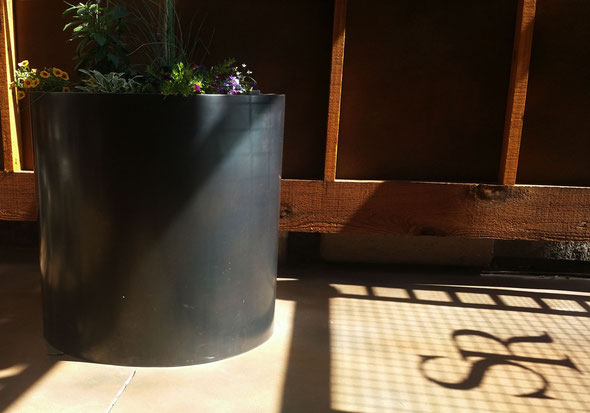 grant irish patinaed stainless steel circular planters