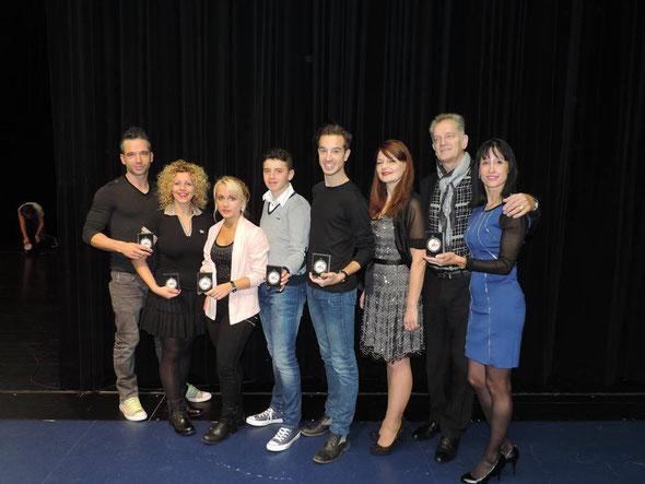 Benoit, Elisa, Manon, Théo, Quentin, Nadine, Roland et Isabelle, récompensés par les Lauriers du Sport de la Ville de Marly