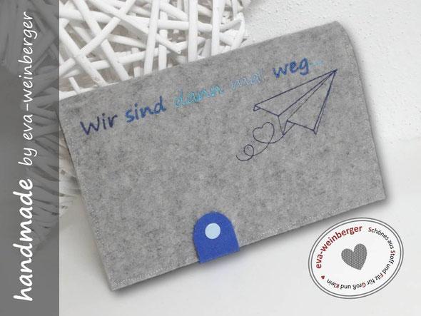 Reisepasstasche Travelorganizer Dokumententasche Reisedokumentenhülle Filz individuell bestickt mit Name Papierflieger für