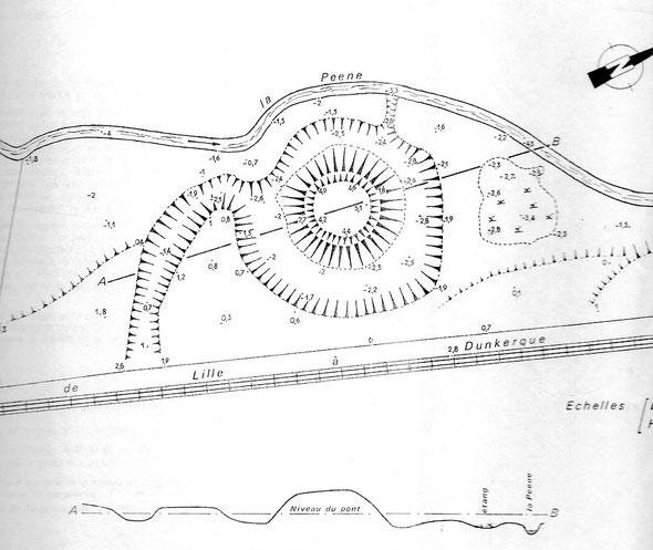 """Relevé de la Motte d'Ochtezeele établi par le Géomètre Guy Lefranc et publié dans son ouvrage """"Atlas Archéologique n°1"""" édité par l'APAR en 1976"""