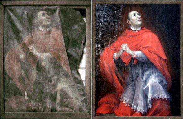 Portrait de (Saint) Charles Borromée (1538-1584) restauré sur les fonds propres de l'association.