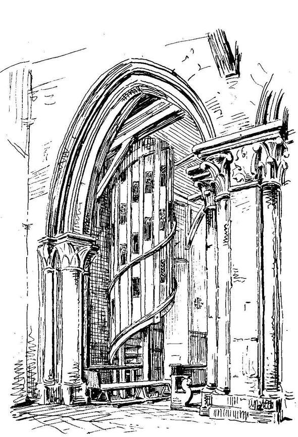 détruit par l'incendie de 1951, l'escalier et la tribune n'ont pas été reconstruits