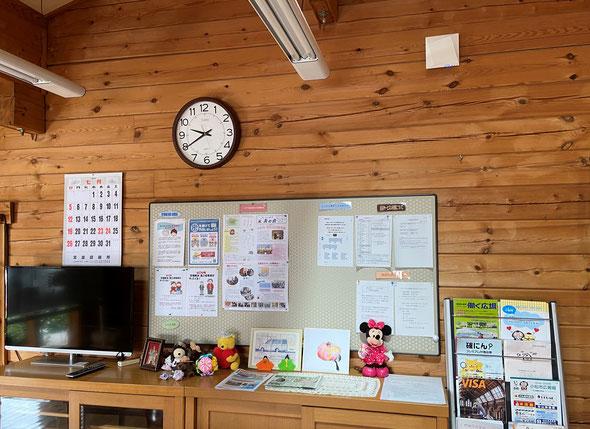 なごみの郷本館食堂内の壁面上部に設置したWiFi装置