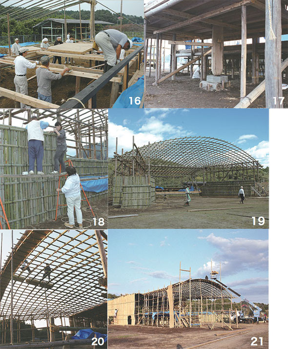 3 to 21: Cutting bamboo, assembling the stage, putting up the roof, laying the reed mats, and so on (around 15 days are required to do this work)