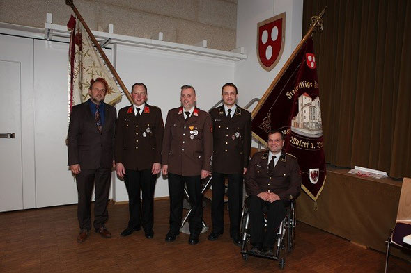 v.l.n.r. BGM Paul Hauser, KDT Franz Auckenthaler, KDT-STV Markus Gschliesser, SF Armin Gschnitzer, KA Bernhard Seehauser