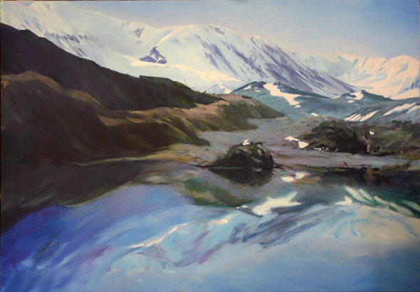 """Baralachala La"", 200 x 140 cm, Öl auf Leinwand, 1994 3500,- €"