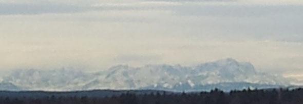 Derzeitiger Ausblick auf die Zugspitze von meinem Balkon aus
