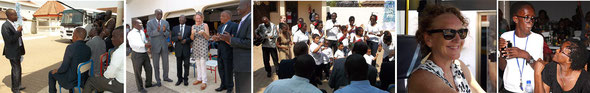 Photos from L to R: Farouk new Chair of BoG; Presentation of the school bus keys from BoG with the Lower Primary giving their rendition of the wheels on the bus; Mandy at the wheels of the bus; and Bafour who initiate