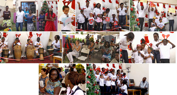 Photo montage of students performance with parents and teachers watching.