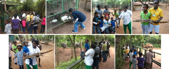Photo of students from the lower primary at the Accra Zoo